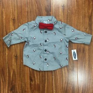 NWT Old Navy Grey Penguin Bow Tie Button Down 0-3M